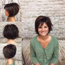 light and wispy bob haircuts bronze high light on dark brown hair done by heather j short