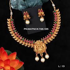 pearl ruby necklace images Matt finish necklace set pearl ruby emerald laxmi jannat98 griiham jpg