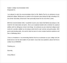 ideas of sample college recommendation letter from supervisor for
