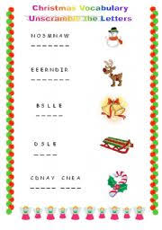 christmas unscramble the letters