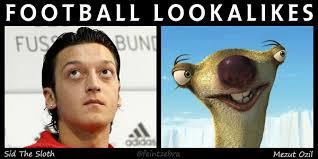 Ozil Meme - football lookalikes mesut ozil and sid the sloth