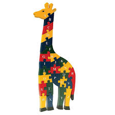 amazon com bits and pieces wooden alphabet giraffe learn
