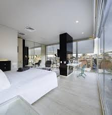 bedroom interior modern open bedroom apartment with large glass