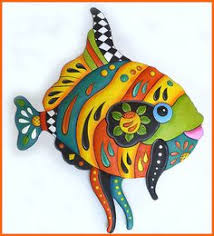 Funky Garden Decor Hand Painted Fish Tile Sea Pinterest Fish Fish Art And Clay