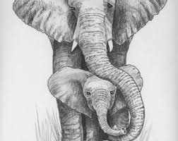 pen and ink elephant etsy
