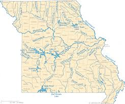 missouri map images map of missouri lakes streams and rivers