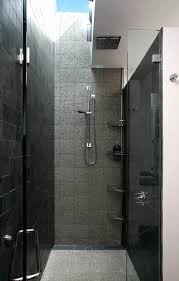 corner shower caddy in bathroom transitional with dark tile next