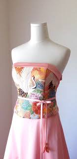 wedding dresses made to order wedding dress vintage kimono geisha pink gold brocade crane flower