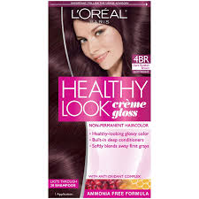 brown cherry hair color amazon com l oreal healthy look creme gloss hair color 4br dark