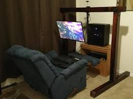 Recliner Laptop Desk by Recliner Battlestation Custom Wooden Archway For Monitor Stand