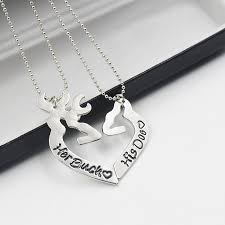buck and doe couples necklace 2pcs deer buck his doe necklaces heart