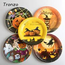 tronzo 10pcs halloween disposable plate pumpkin paper tableware