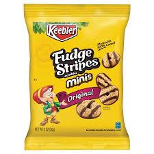 keebler mini cookies fudge stripes 2oz snack pack 8 box