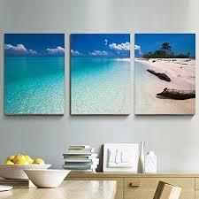 sea home decor framed wall art canvas 3 panels print blue sea beach painting