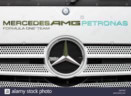 mercedes amg logo mercedes amg f1 team logo on truck stock photo royalty free image