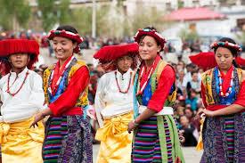 ladakh clothing dancers on festival of ladakh heritage stock photo colourbox