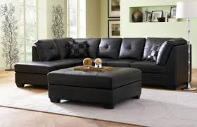 Living Room Ottoman by Leather Sectional Sofa For Small Living Room In Black Color With