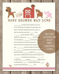 baby mad libs printable baby shower mad libs farm animals theme print it baby