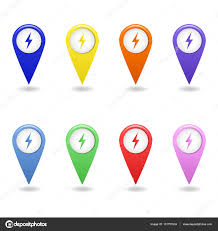 electric vehicles symbol vector set of colorful map pointers of electric car charging