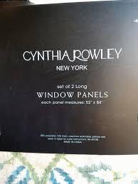 rowley tan blue green jacobean floral window curtain panels 52x84 pair