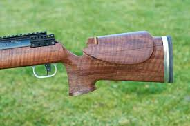 fiddleback claro walnut rifle stock with barnard action finished