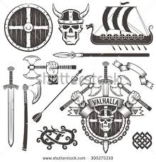 coat arms vikings logo valhalla emblem stock vector 305275319