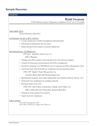 Sample Resume With Summary Of Qualifications Management Resume Objective Examples