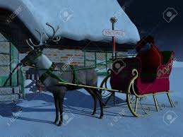 a reindeer with sleigh waiting outside santa claus house a starry