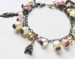 Paris Themed Charm Bracelet Handmade Colorful Wedding Bridesmaid U0026 Bridal Jewelry By Skyejuice