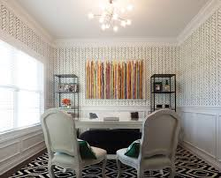 hanging art on wallpaper home office transitional with colorful