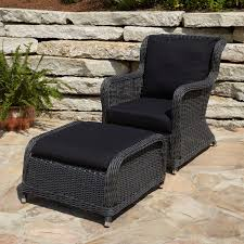 Patio Chairs With Ottomans Alcee Resin Wicker Outdoor Chair And Ottoman Set Outdoor Patio