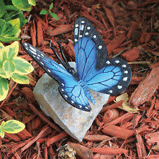 design toscano papilio ulysses butterfly on rock statue ebay