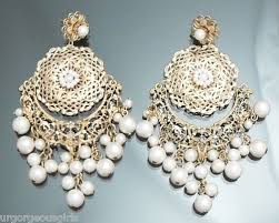 and pearl chandelier earrings pearl vintage lace gold chandelier earring new 12 dollars