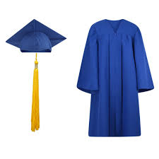 blue cap and gown cap gown and tassel set matte finish
