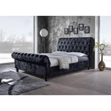 Platform Sleigh Bed Baxton Studio Castello Velvet Upholstered Faux Crystal Button