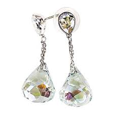 pierced earrings swarovski lunar light azore moonlight pierced earrings
