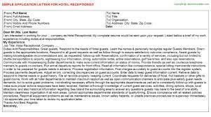 sample cover letter for receptionist position hotel front desk