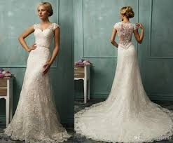 lace wedding gown sheer straps lace cap sleeve wedding dresses illusion back sheath