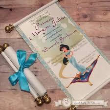 disney princess jasmine scroll invitation aladdin birthday