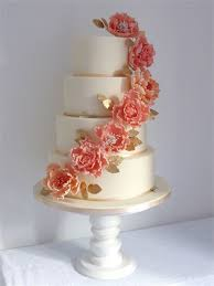 coral wedding cakes flora coral gold ivory wedding cake from cookie delicious