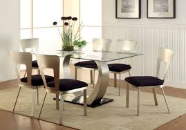 Glass Top Dining Table And Chairs Dining Room Set With White Leather Chairs And Glass Table Top