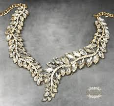bib necklace crystal images Gold leaf vine crystal modern bridal bib necklace earrings set jpg