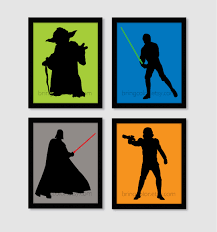 Star Wars Bedroom Ideas Star Wars Silhouette Set Of 4 Art Prints 8x10 For By Bringcolor