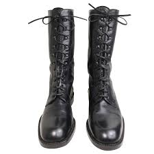 vintage motorcycle boots vintage 90s black leather military style army combat lace up ankle