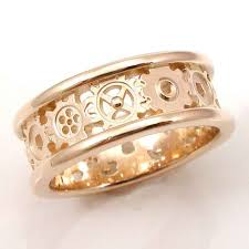 gear wedding ring steunk gold gear ring alternating gears ringscollection