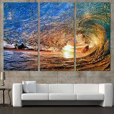 direct selling home decor direct selling 3 panels canvas art sea huge waves sunset home decor