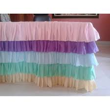 Pink Table Skirt by Rainbow Ruffled 5 Tier Table Cloth Table Skirt Cotton Poplin