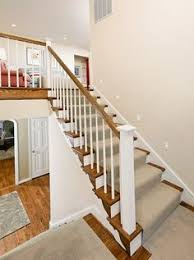 Home Depot Banisters Split Level Stairs After Beach Style Staircase Austin