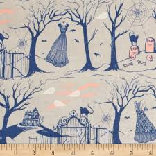 cotton steel boo halloween lane natural pearlescent sewing