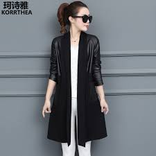 fall fashion spell leather dress coat color code temperament show